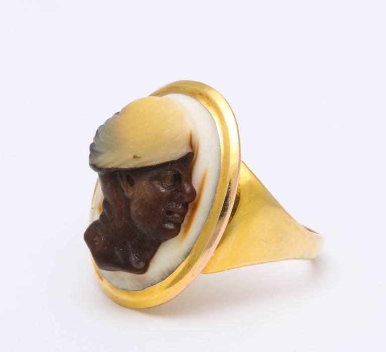 Women's or Men's Antique Georgian Fine Cameo Ring of a Blackamoor For Sale