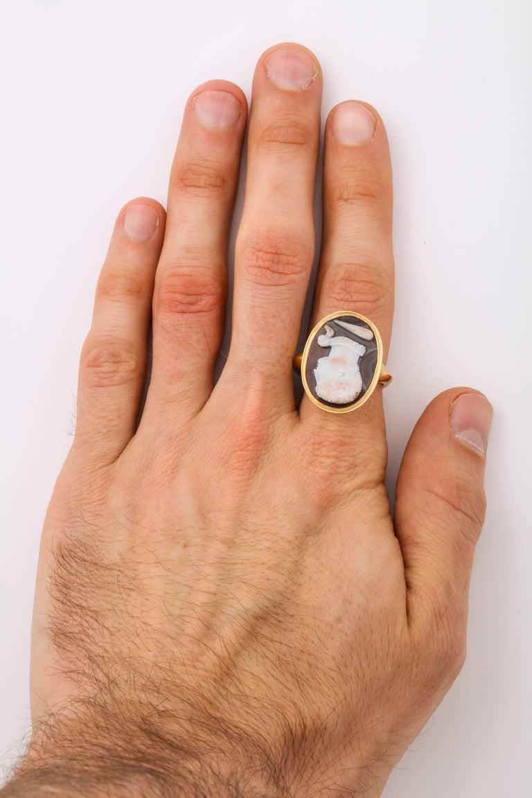 Antique Georgian Fine Cameo Ring of a Blackamoor For Sale 3