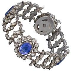 Antique Georgian Blue Paste Bracelet Silver, circa 1800