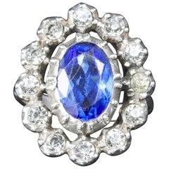 Antique Georgian Blue White Paste Silver Ring, circa 1800