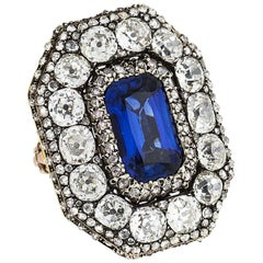 Antique Georgian Burma Sapphire Old European Cut Diamond Ring, circa 1800
