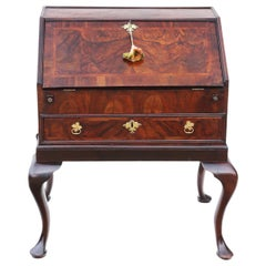 Antique Georgian circa 1730 Burr Walnut Bureau Desk Writing Table, 18th Century