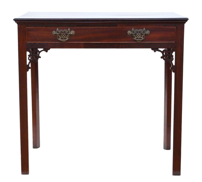 Antique Georgian circa 1800 Cuban Mahogany Writing Side Table Desk In Good Condition For Sale In Wisbech, Cambridgeshire