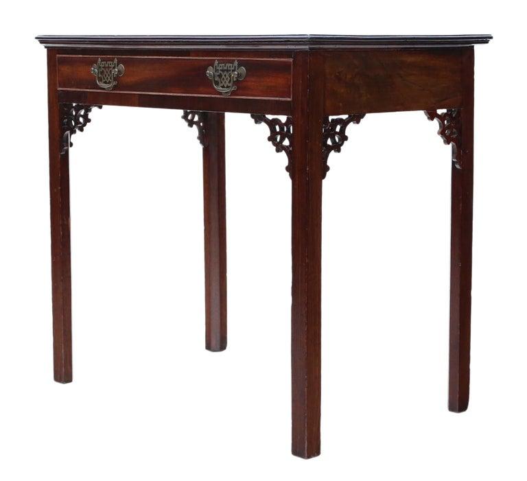 Antique Georgian circa 1800 Cuban Mahogany Writing Side Table Desk For Sale 1