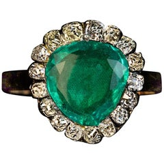 Antique Georgian circa 1800 Emerald Diamond Heart Shaped Ring