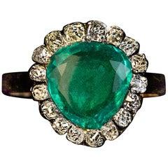 Antique Georgian circa 1800 Emerald Diamond Heart Shaped Ring