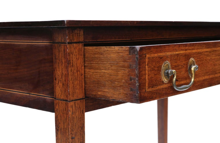 Antique Georgian circa 1800 Inlaid Mahogany Writing Side Table Desk 3