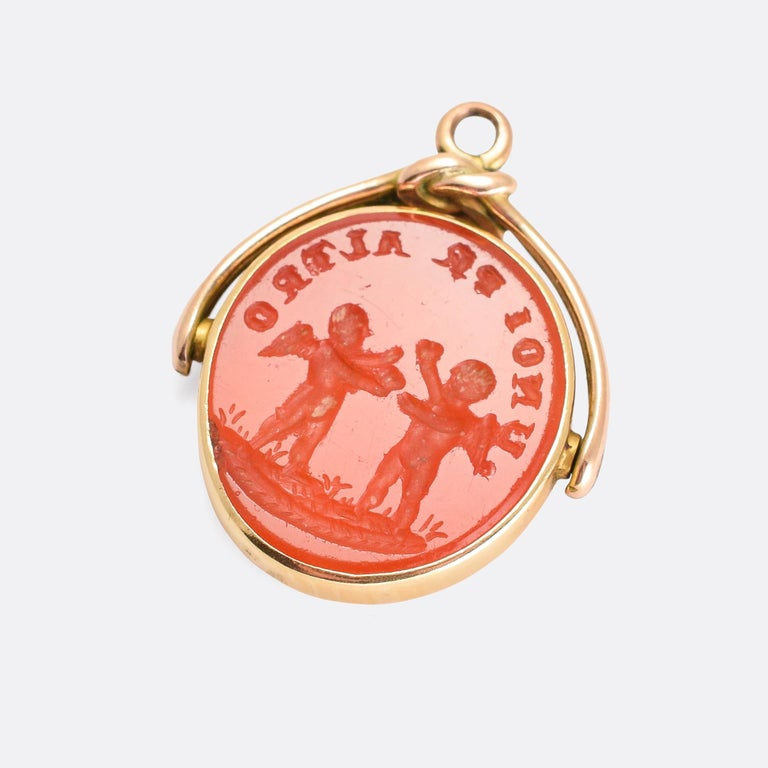Antique Georgian Carnelian Intaglio Spinner Fob In Good Condition For Sale In Sale, Cheshire