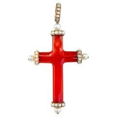 Antique Georgian Carnelian Oriental Pearl 14 Karat Gold Cross Pendant