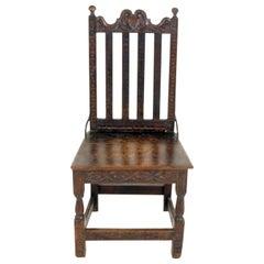 Antique Georgian Chair, Carved Oak Hall Chair, Scotland 1780, B2337