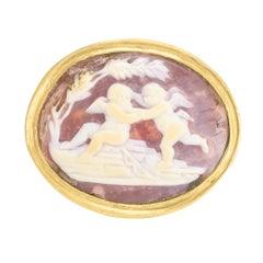 "Antique Georgian ""Cherubs At Play"" Shell Cameo Ring"