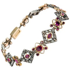 Antique Georgian circa 1790 Ruby and Diamond in Gold and Silver Bracelet
