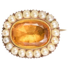 Antique Georgian Citrine Pearl Brooch