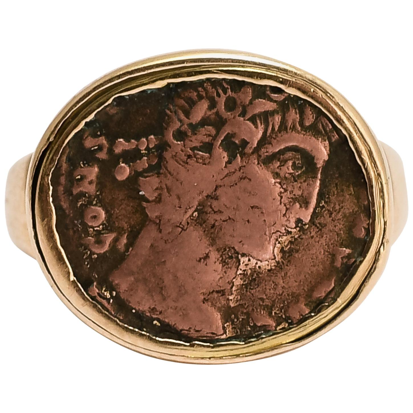 """Antique Georgian """"Constantine The Great"""" Roman Coin Ring"""