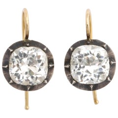 Antique Georgian Cushion Cut Paste Ear Drops in Silver and Gold