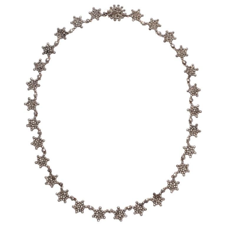 Antique Georgian Cut Steel Star Necklace For Sale