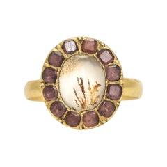 Antique Georgian Dendritic Agate Garnet Picture Frame Ring