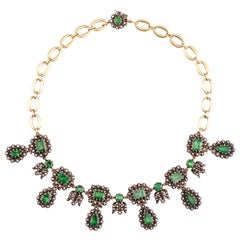 Sylva & Cie Antique Georgian Diamond and Emerald Necklace with 18k Yellow Gold
