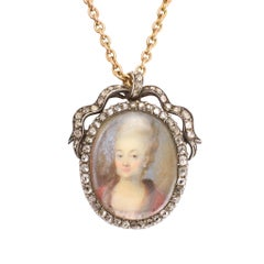 Antique Georgian Diamond-Set Portrait Miniature Pendant Necklace