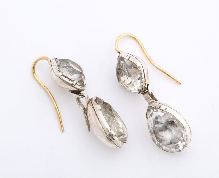 George II Antique Georgian Double Rock Crystal Earrings For Sale