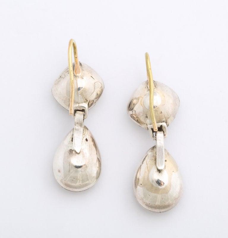 Pear Cut Antique Georgian Double Rock Crystal Earrings For Sale