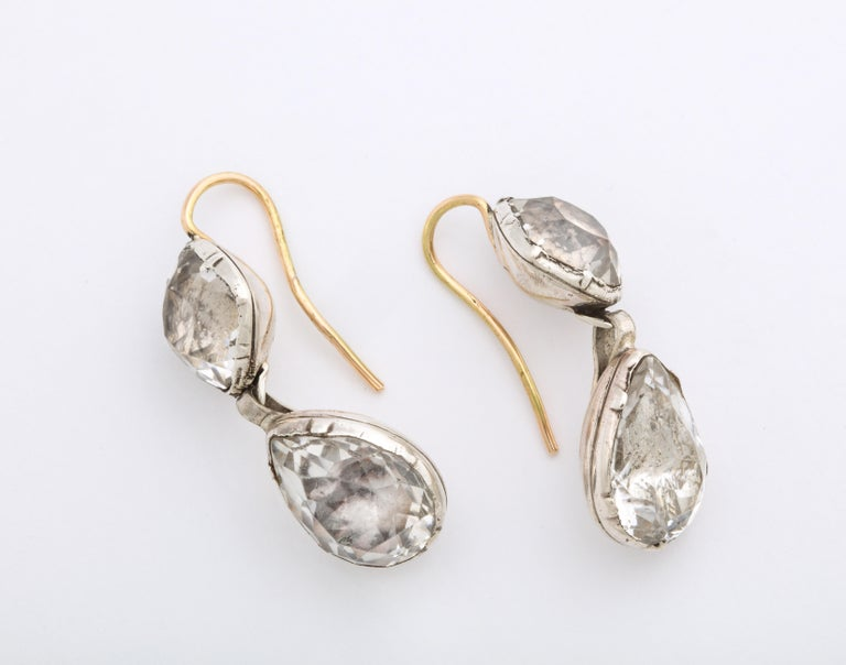 Antique Georgian Double Rock Crystal Earrings In Excellent Condition For Sale In Stamford, CT