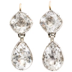 Antique Georgian Double Rock Crystal Earrings