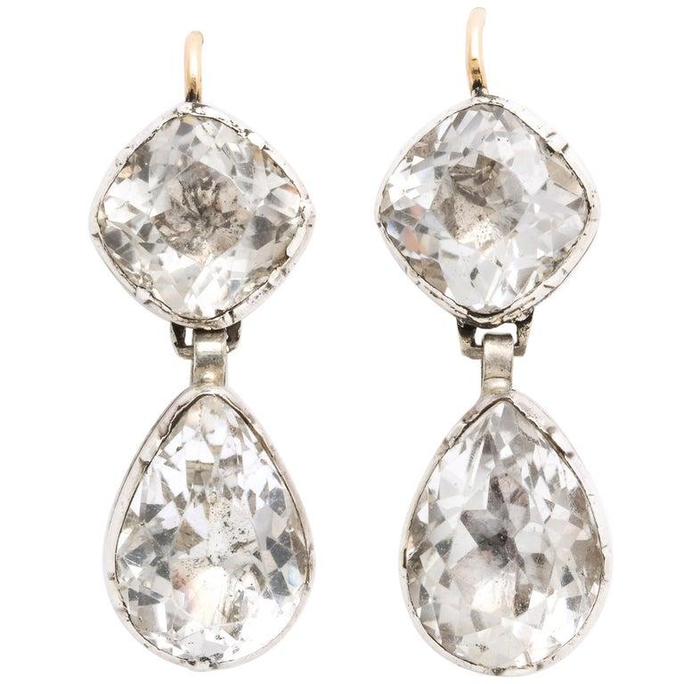 Antique Georgian Double Rock Crystal Earrings For Sale