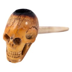 Antique Georgian Early Victorian Carved Skull Pipe