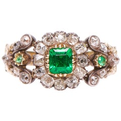Antique, Georgian, Emerald and Diamond Cluster Ring