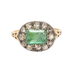 Antique Georgian Emerald Diamond Fluted Cluster Ring