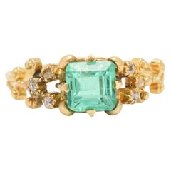 Antique Georgian Emerald Diamond Solitaire Ring