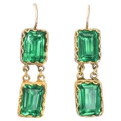 Antique Georgian Emerald Paste Earrings