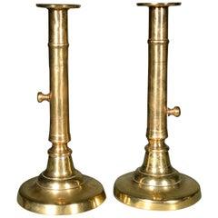 Antique Georgian English Brass Side-Eject Candlesticks, Pair