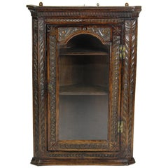 Antique Georgian English Carved Oak Corner Cupboard Cabinet with Glazed Door