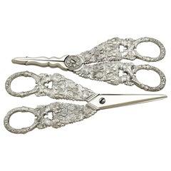 Antique Georgian English Composite Sterling Silver Grape Scissors