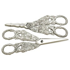 Antique Georgian English Composite Sterling Silver Grape Scissors