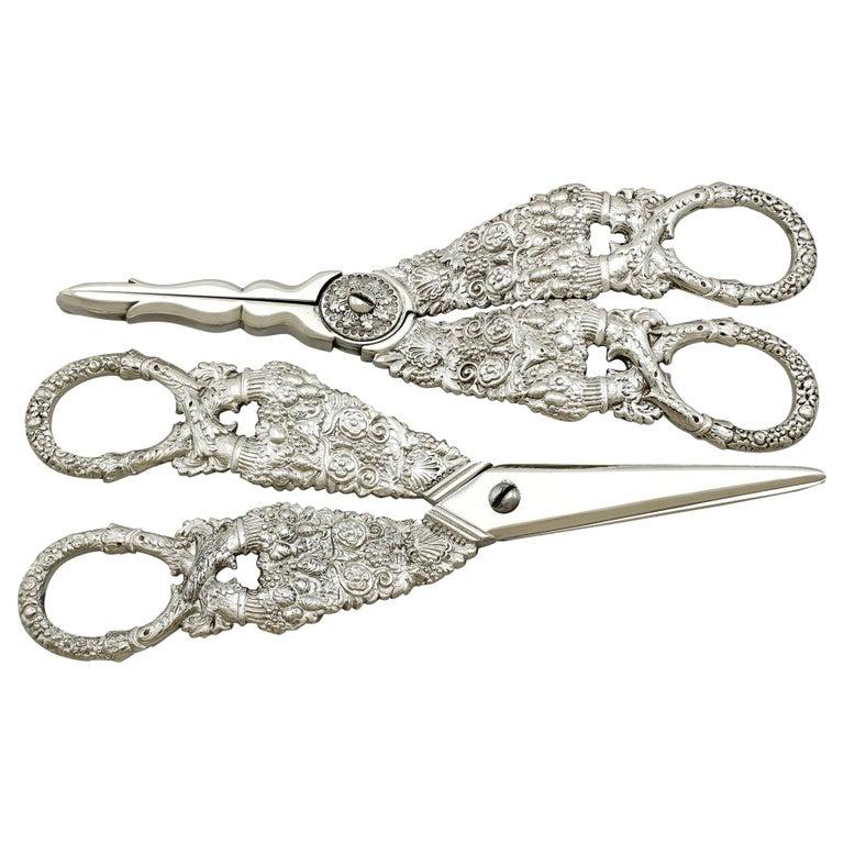 Antique Georgian English Composite Sterling Silver Grape Scissors For Sale