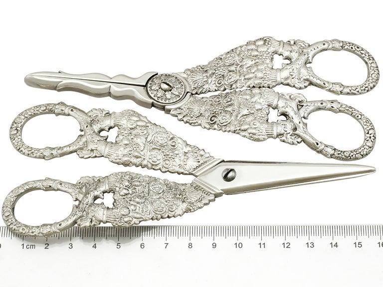 Antique Georgian English Composite Sterling Silver Grape Scissors For Sale 6