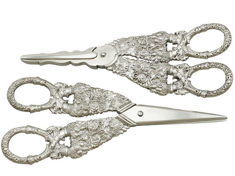 An exceptional, fine and impressive, composite pair of antique George IV English sterling silver grape shears; an addition to our silver flatware collection.