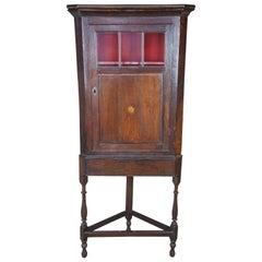 Antique Georgian English Oak Petite Corner Cabinet Curio Cupboard