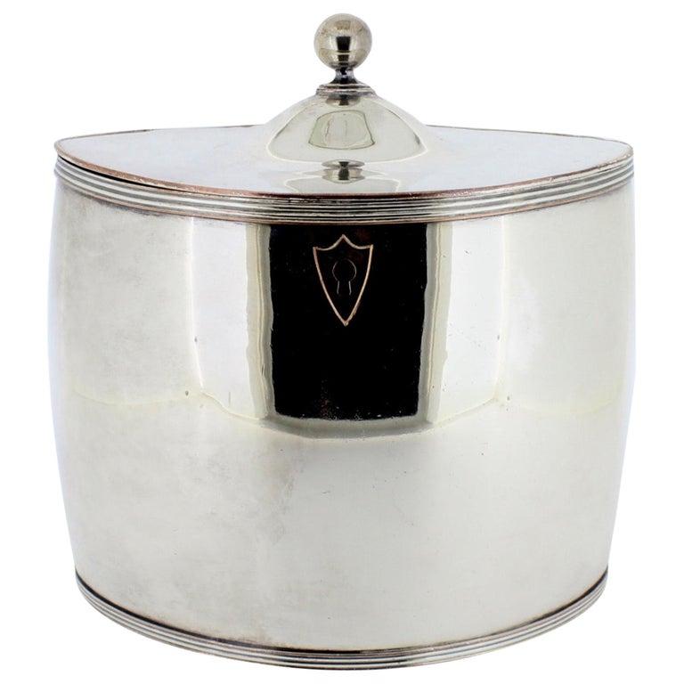 Antique Georgian English Sheffield Silver Plate Tea Caddy For Sale