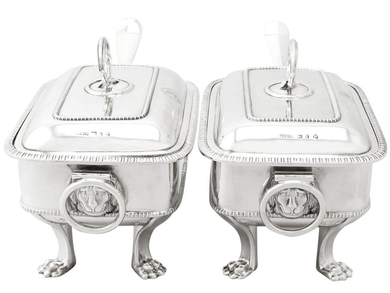 George III Antique Georgian English Sterling Silver Sauce Tureens with Ladles For Sale