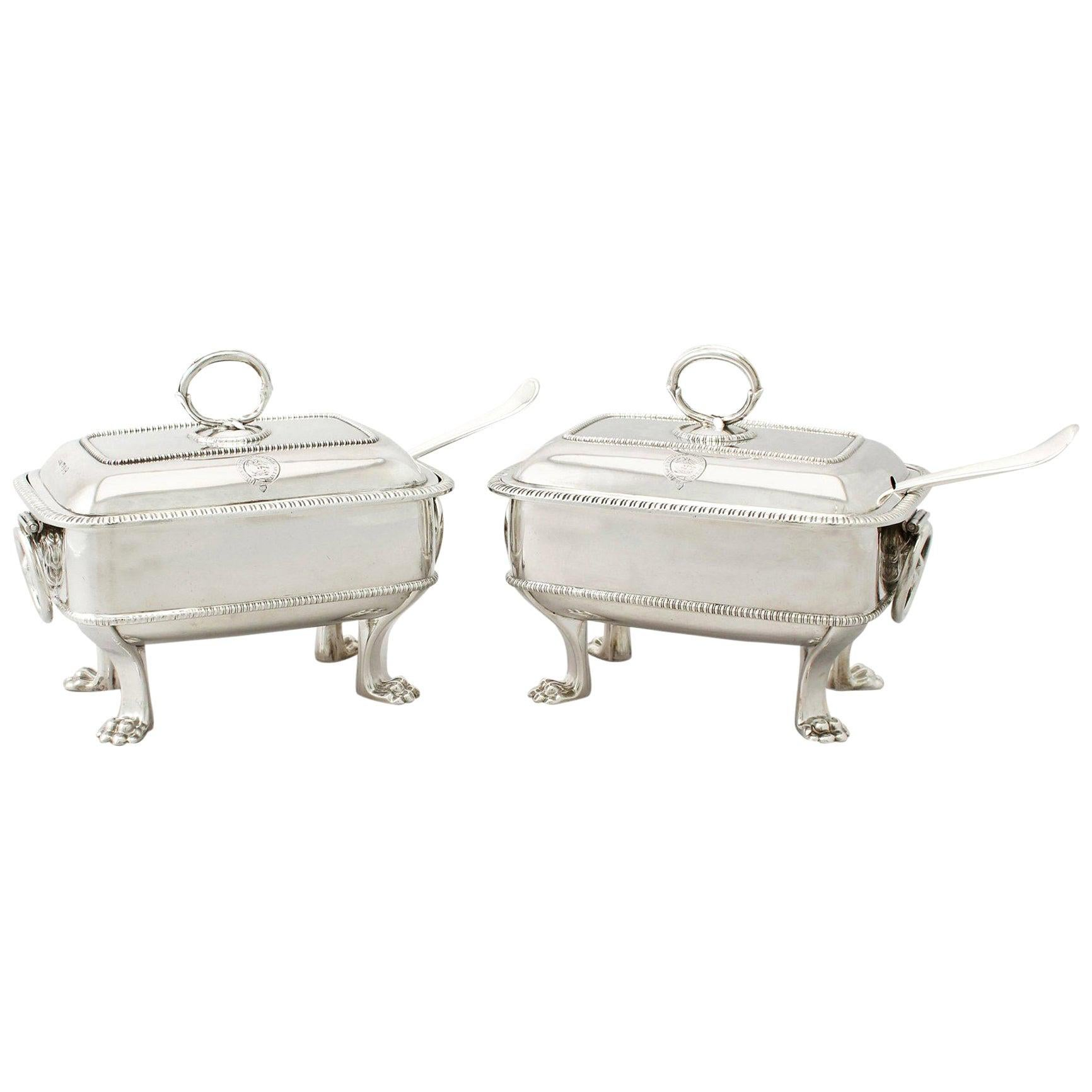 Antique Georgian English Sterling Silver Sauce Tureens with Ladles