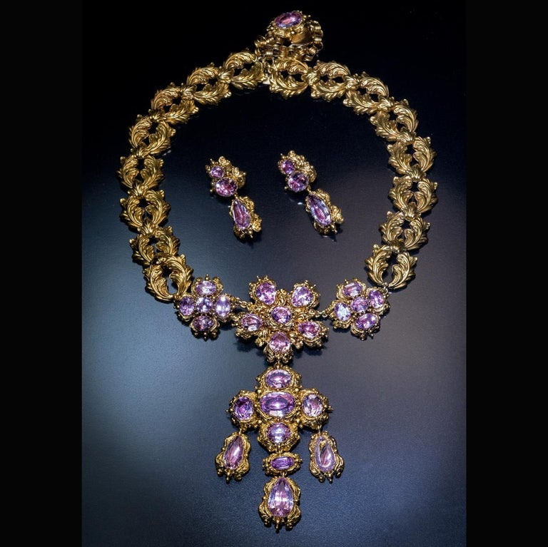 Antique Georgian Era Pink Topaz Gold Necklace and Earrings 8