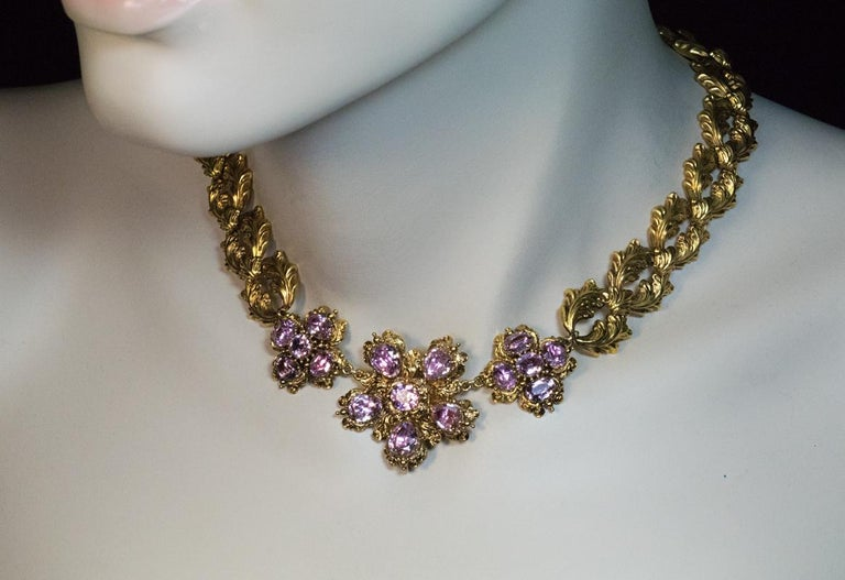 Antique Georgian Era Pink Topaz Gold Necklace and Earrings In Excellent Condition In Chicago, IL