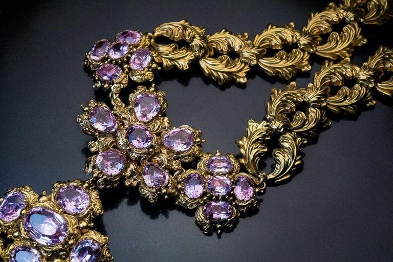 Women's Antique Georgian Era Pink Topaz Gold Necklace and Earrings