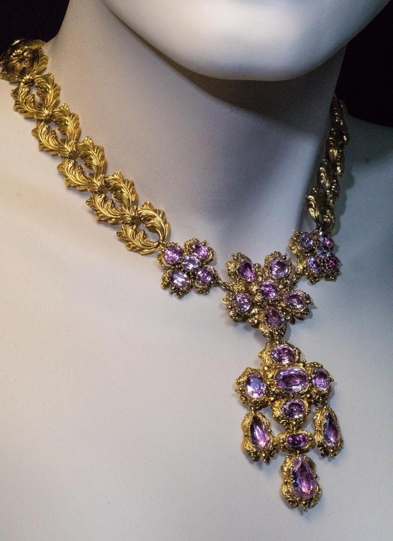 Antique Georgian Era Pink Topaz Gold Necklace and Earrings 1