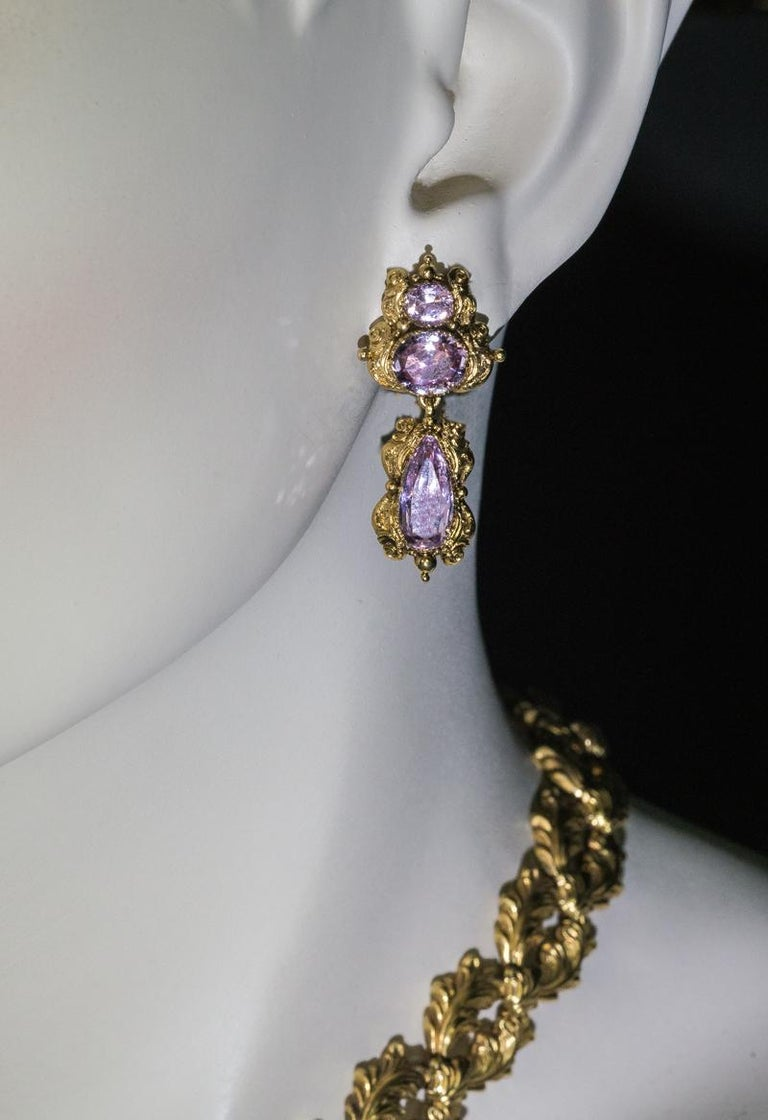 Antique Georgian Era Pink Topaz Gold Necklace and Earrings 2