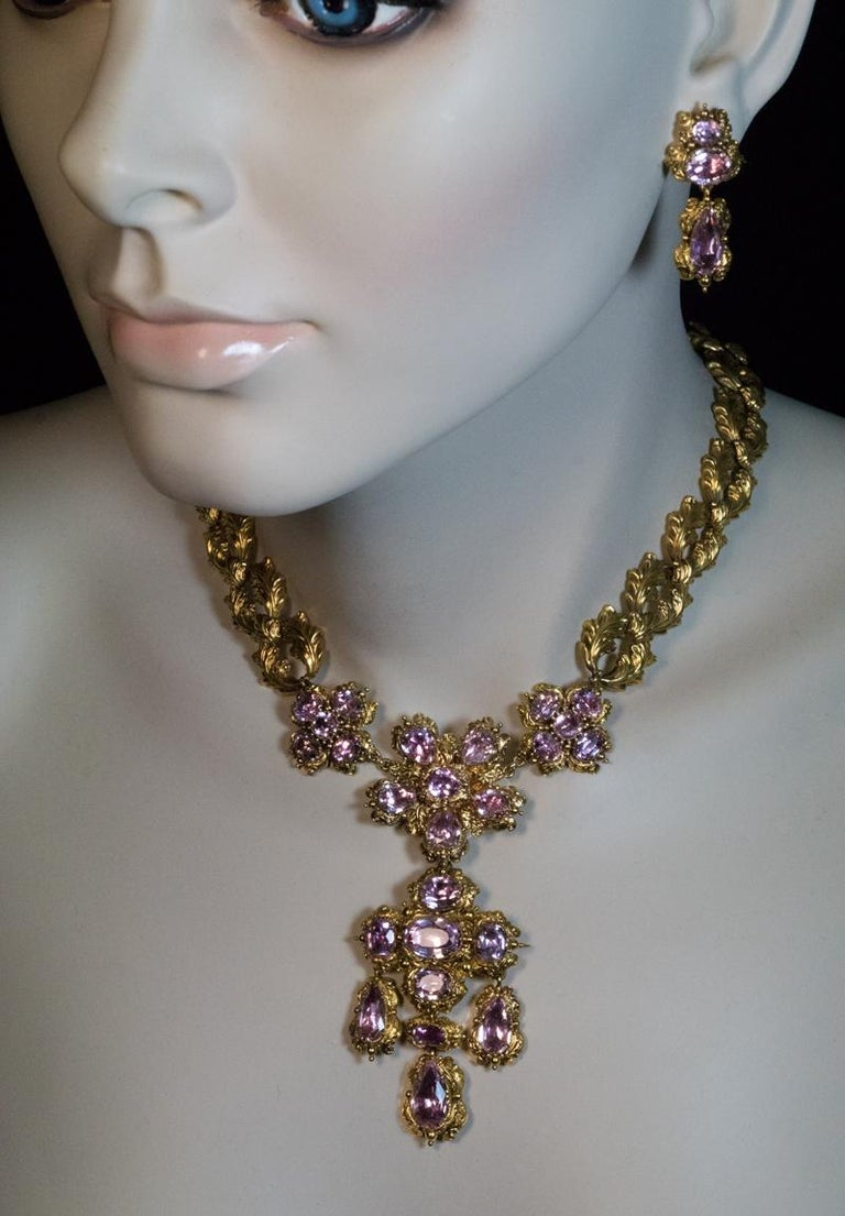 Antique Georgian Era Pink Topaz Gold Necklace and Earrings 3